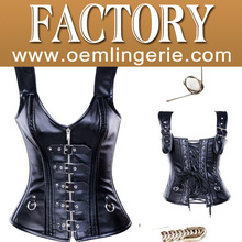 black wholesale cheaper leather steel bone corset with straps and zip