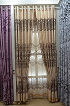 polyester fabric flocking window curtains beautiful curtains
