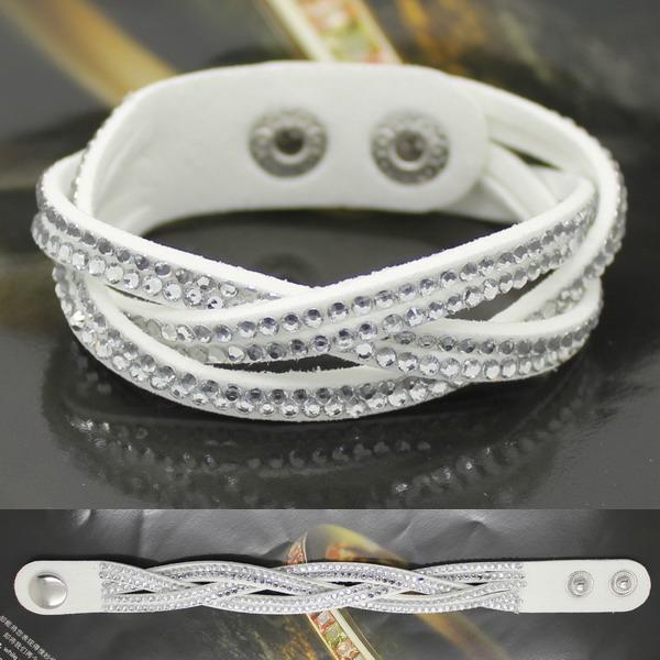 Горячая распродажа 3 слой белый K кожаный браслет с 2015 дизайнер ювелирных изделий ручной работы витая браслет бесплатная доставка