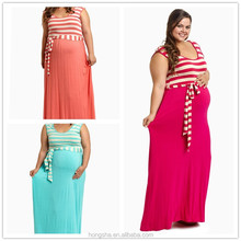 2015 coral striped top sash tie plus size dresses maternity maxi dress HSD6338