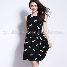 New Arrivals Black Dress Designer One Piece Party Dress Pleated Waist Casual Dress With Small Spots