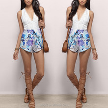 Anly wholesale sexy v-neck print short jumpsuit with back lace openwork bottom