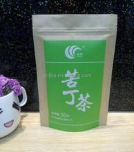 DJ Hot sale standing up kraft paper bag for tea, tea kraft paper bag with zipper,tea packing bag