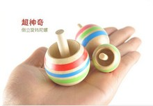 Children's nostalgia for the traditional wooden toys magic inverted upside down spinning tops KOMA 3pcs /set