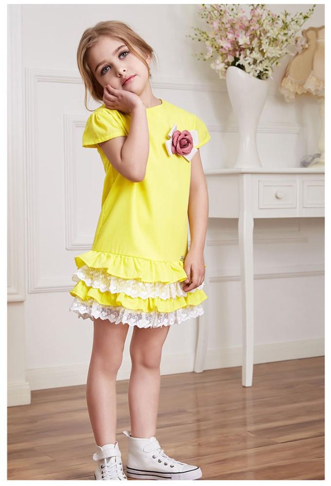 Hot Sale Short Slim Lace Tiered Girls Dresses Bow Summer Dresses
