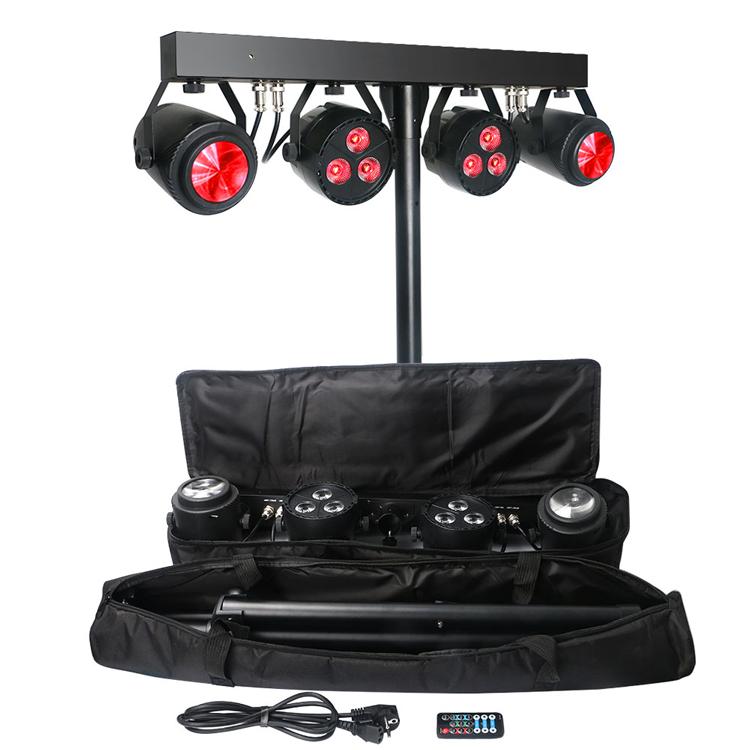 DJ Бар 6x4 Вт RGB УФ 4in1 Quad цвета Par света и Moonflower световой эффект комплект с штатив Стенд и сумка для переноски