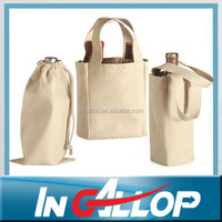 Customized canvas 6 bottle wine tote bag