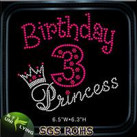 Pink birthday princess rhinestone transfer hot fix strass motif
