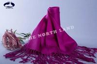 silk cashmere twill woven pashmina fushia