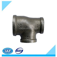 Black & Galvanised Malleable Iron Pipe Fitting BSPT ruducing Tee