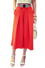 Ladies Trousers Women's Casual Wide Leg with Bowknot Belt Loose Culottes Pants
