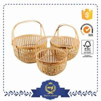 Custom Made Classic Style Bamboo Basket Decoration For Wedding