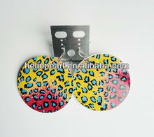 2014 latest fashion printing handcrafted flat shell earrings