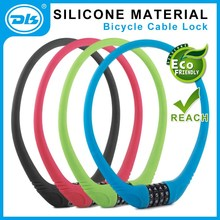 high quality silicone material 4 digits combination bicycle steel cable lock