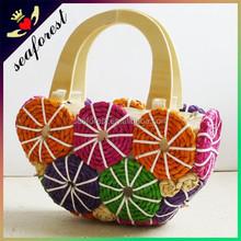 2015 Handmade high quality fashion ladies summer beach straw bag