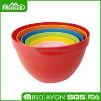 Food grade kitchen melmac salad bowl set, colorful 6pcs nested cake plastic mixing bowl