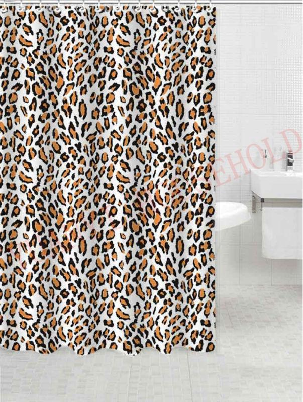 l opard imprim rideau de douche en polyester imperm able tissu douche rideaux. Black Bedroom Furniture Sets. Home Design Ideas