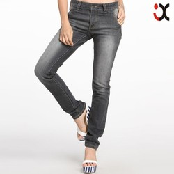 monkey washing whiskered fashion leisure denim grey pants women china wholesale JXQ507