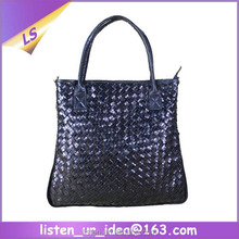 Fashion Purse Lambskin Genuine Leather Women Knitted Handbags