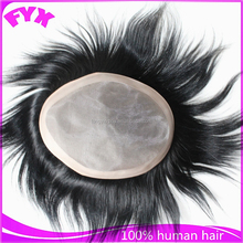 """Fine mono with NPU all around and front edge 1/8"""" front foaded lace indian men hair toupee wig"""