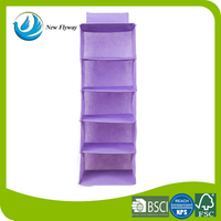 Newest product non woven fabric home storge 5 shelves hanging organizer