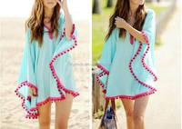 New Summer Loose Women Beach Dresses Casual Fashion V Neck Ladies Dress Wholesale