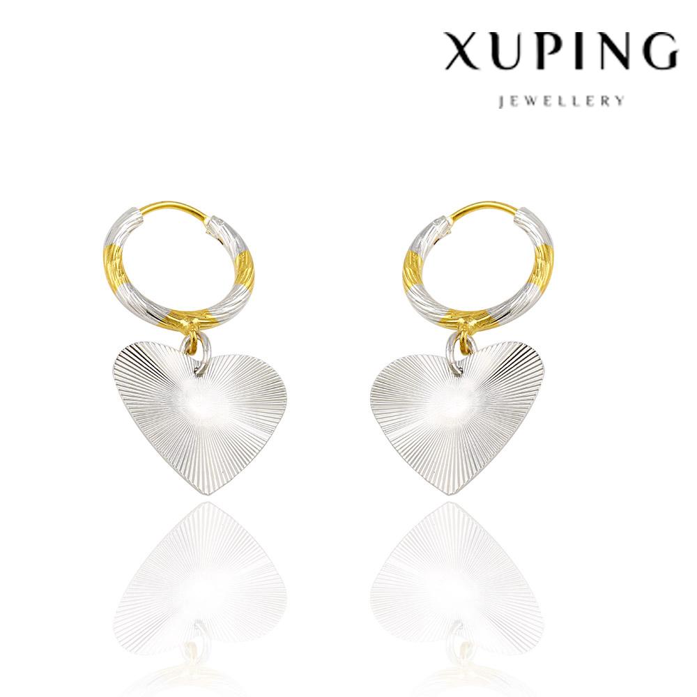 Xuping takı dubai moda küpe sıcak kaplama 24 k altın takı satış popüler kalp şeklinde küpe, ucuz kadınlar tasarım earr