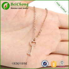 Fashion stainless steel heart shaped golden interchangeable key pendant necklace