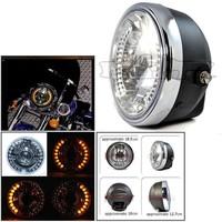 BJ-HL-007 Universal 28 LED 35W black amber round led headlight for bajaj 150cc pulsar motorcycle