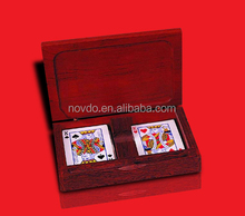 custom paper poker set in wooden box/custom card game printing
