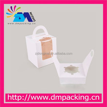 side window white paper card cupcake box with paper handle