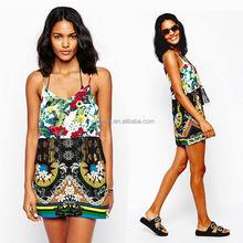 2015 Summer women wear new fashion design of sexy maxi & mini beach dress wholesale printed with tassel dress HSD7119