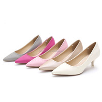 Ten color women's pumps shoes low heel dress shoes for ladies