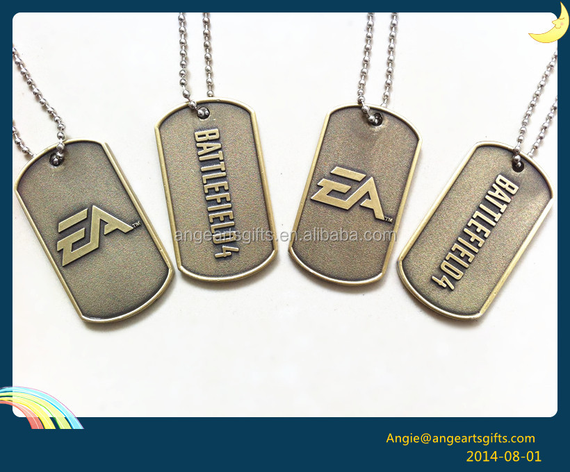 battlefield Antique gold Antique brass military dog tag