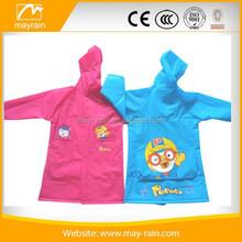 Fashion PVC rainwear kids button raincoat with carton bird
