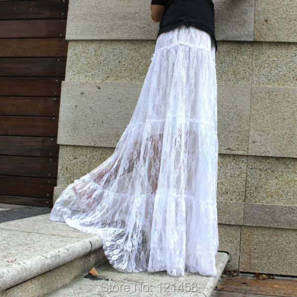 Long White Lace Maxi Skirt - Dress Ala