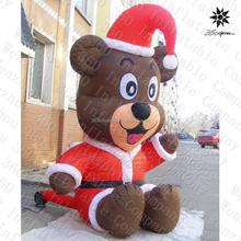 2015 new small red vivid inflatable Christmas bear for Christmas decoration