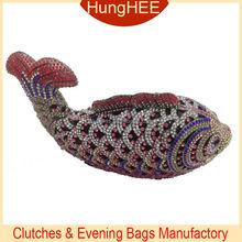 Diamonte rhinestone Animal design fish shaped handmade crystal evening bag IF-HC2056