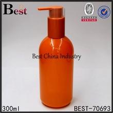 300ml orange flat plastic bottle with pump
