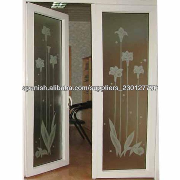 vidrio esmerilado de alta calidad puertas francesas de pvc