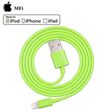 China manufacturer cheap green MFi approved 8pin to usb cable