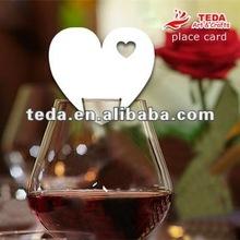 PD-013simple heartshape chrismas wine Glass place cards