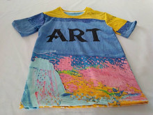 100%cotton high quality graphic tees t shirt with all over printing /new sublimation printing/dye sublimation printed