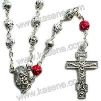 hot sale plastic rose rosary necklace