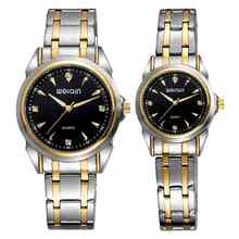 WEIQIN W00139 new arrival couple's 30m water resistant two tone gold chain watch