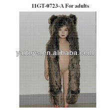 Faux fur animal hat dark brown bear hat with long mittens for Adults