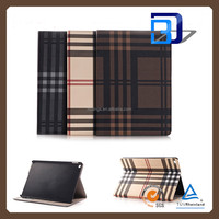 Chinese Supplier Grid pattern Texture Pattern Stnad Cover PU Leather Cover case For iPad pro tablet case lowest price