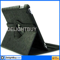 360 degree rotating Smart Cover case with artificial leather for iPad 2/3 (brown checked)