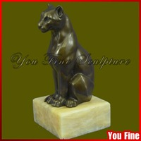 Life Size Sitting Bronze Leopard Sculpture on Stone Base