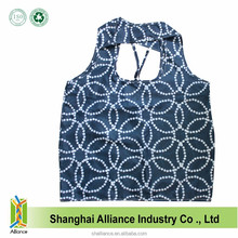 Foldabe Round Print Tote Waterproof Spring Roll Shopping Bag With Pvc Coated